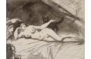 Femme nue, étendue sur un lit, la femme au chat