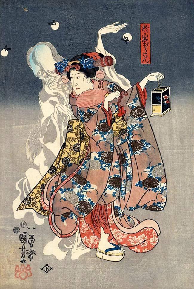 Le fantôme d'Oiwa hantant la femme de Jemon, O-ume de Utagawa Kuniyoshi - Reproduction d'art haut de gamme