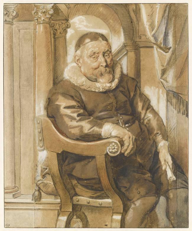 Portrait D Homme Age Assis Dans Un Fauteuil De Jacob Jordaens