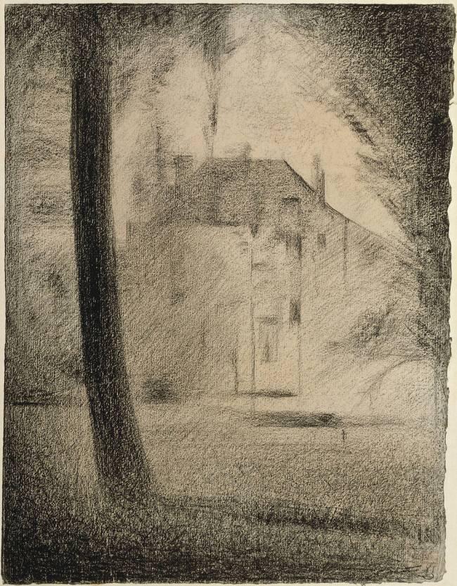 Le Tronc Du0027arbre Et La Maison (Seurat Georges)   Muzeo.com