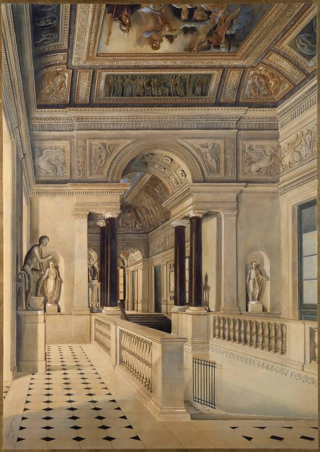 Le Grand Escalier Du Musee De Peinture Vue Perspective De Alexandre Louis Badenier Reproduction D Art Haut De Gamme