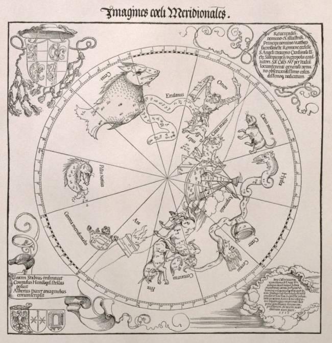 Carte Du Ciel Sud Avec Des Reprsentations De Constellations Albrecht Drer