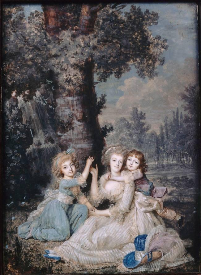 Portrait de Marie-Antoinette (1755-1793) et ses enfants au pied d'un arbre  de François Dumont l'Aîné - Reproduction d'art haut de gamme