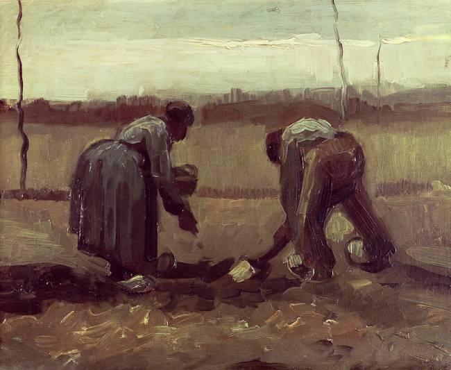 Deux paysans plantant des pommes de terre de Vincent van Gogh -  Reproduction d'art haut de gamme