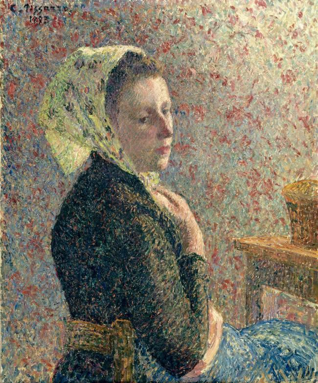 Femme au fichu vert de camille pissarro reproduction d for Camille pissarro oeuvre