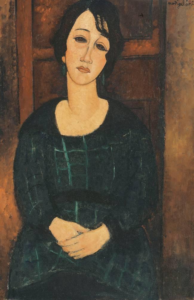 Femme en robe à carreaux de Amedeo Modigliani - Reproduction d'art haut de  gamme