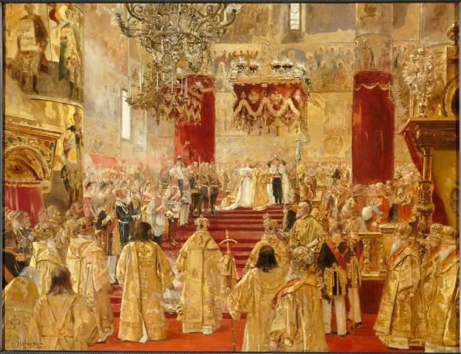 Le Couronnement de Nicolas II (1868-1918), dernier tsar de Russie  (1894-1917) et de l'impératrice Alexandra Féodorowna (1872-1918) en  l'Eglise de l'Assomption à Moscou de Henri Gervex - Reproduction d'art haut  de gamme