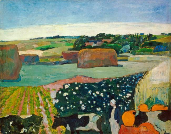 Paysage Breton Avec Botte De Foin