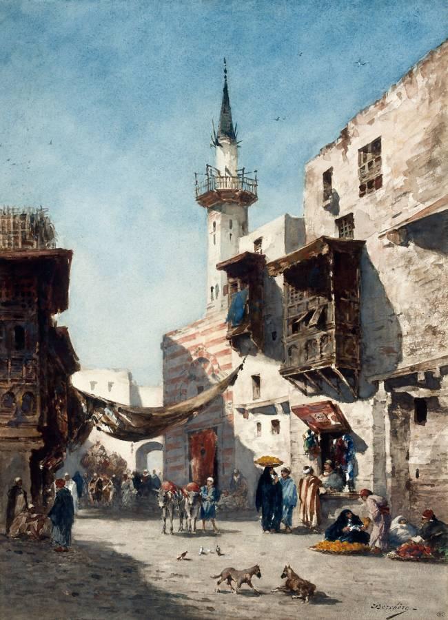 Place dans une ville orientale animée de figures de Berchère ...