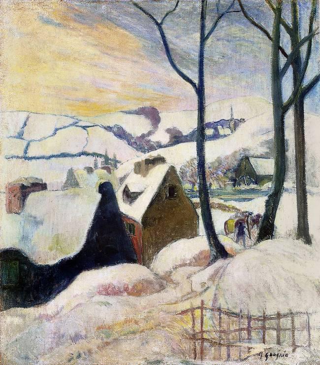Village Breton Sous La Neige De Paul Gauguin Reproduction Dart