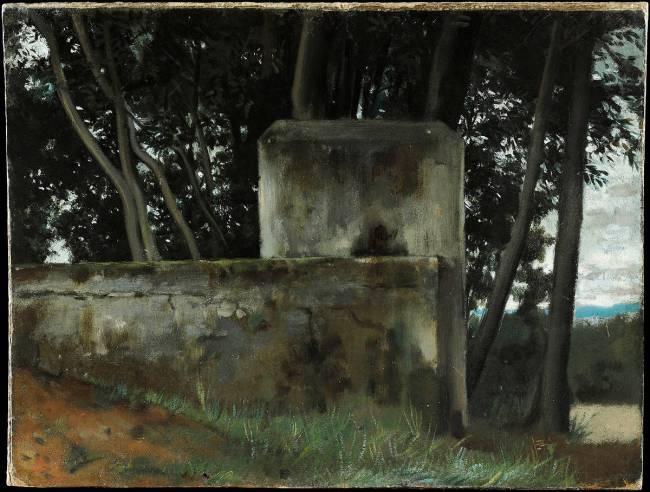 Fontaine dans les lauriers. Rome, jardins de la villa Médicis