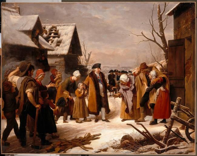 Louis XVI distribuant des aumônes aux pauvres de Versailles pendant l'hiver  de 1788 de Louis Hersent - Reproduction d'art haut de gamme