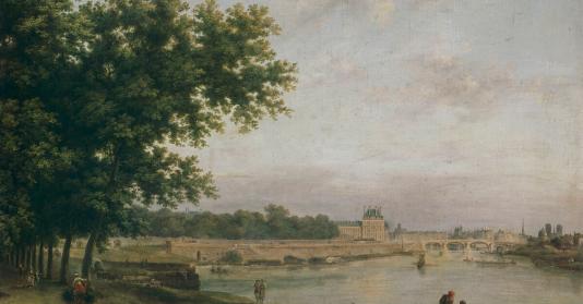 Les tuileries et le pont royal vus du cours la reine de - Comptoir des tuileries cours de l or ...