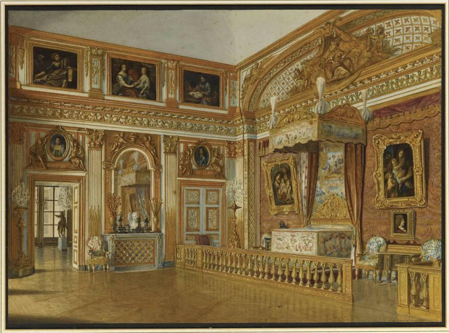 Vue de la chambre de louis xiv versailles en 1861 de for Chambre louis xvi versailles