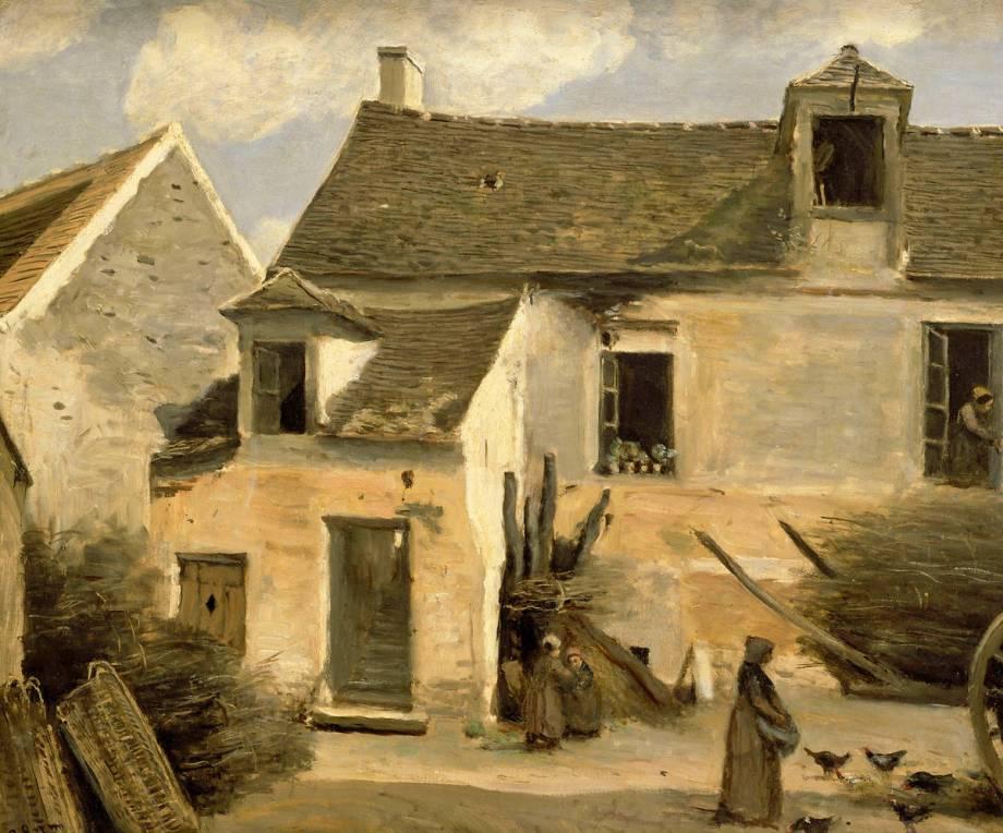 Cour D'Une Maison De Paysans, Aux Environs De Paris. De Corot Jean