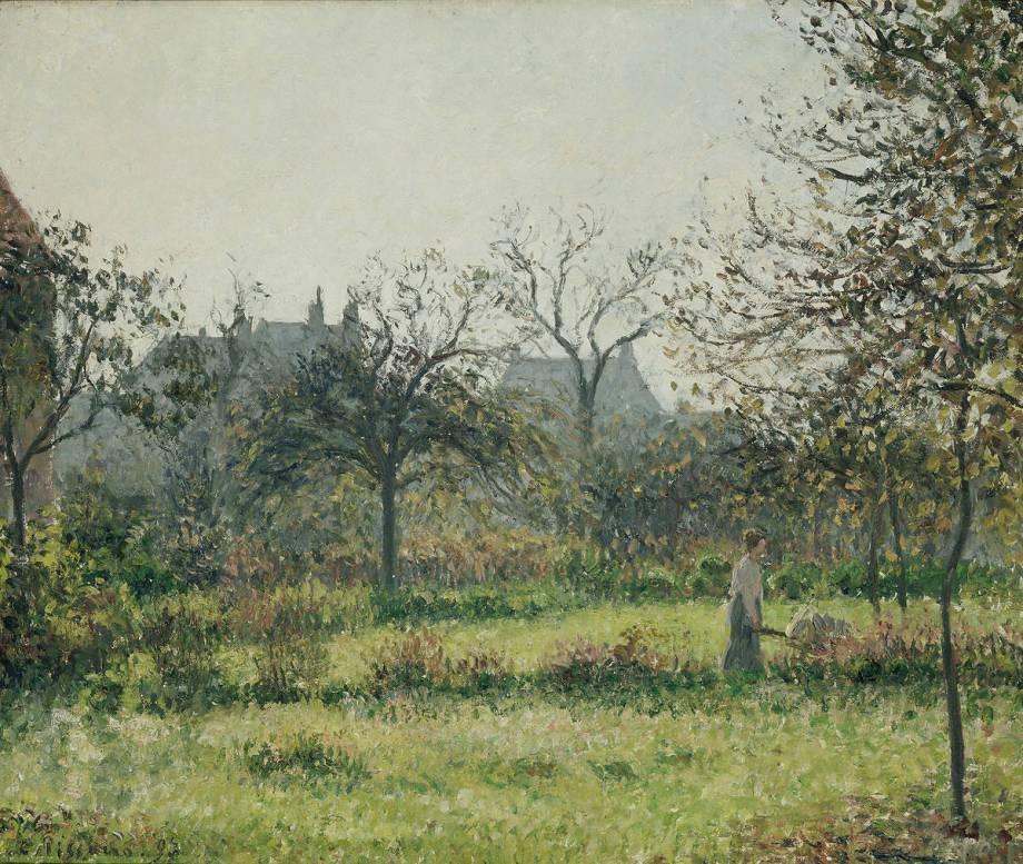 Femme dans un verger matin e d 39 automne jardin d 39 eragny for Camille pissarro oeuvre