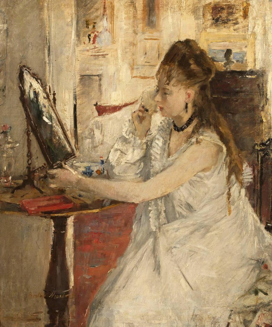 Jeune femme se poudrant de morisot berthe reproduction d for Miroir french to english