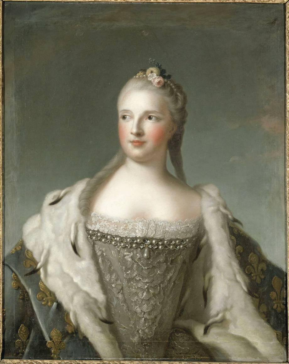 Portrait de Marie-Josèphe de Saxe, dauphine de France en 1747 (1731-1767)  de Jean-Marc Nattier (d'après) - Reproduction d'art haut de gamme