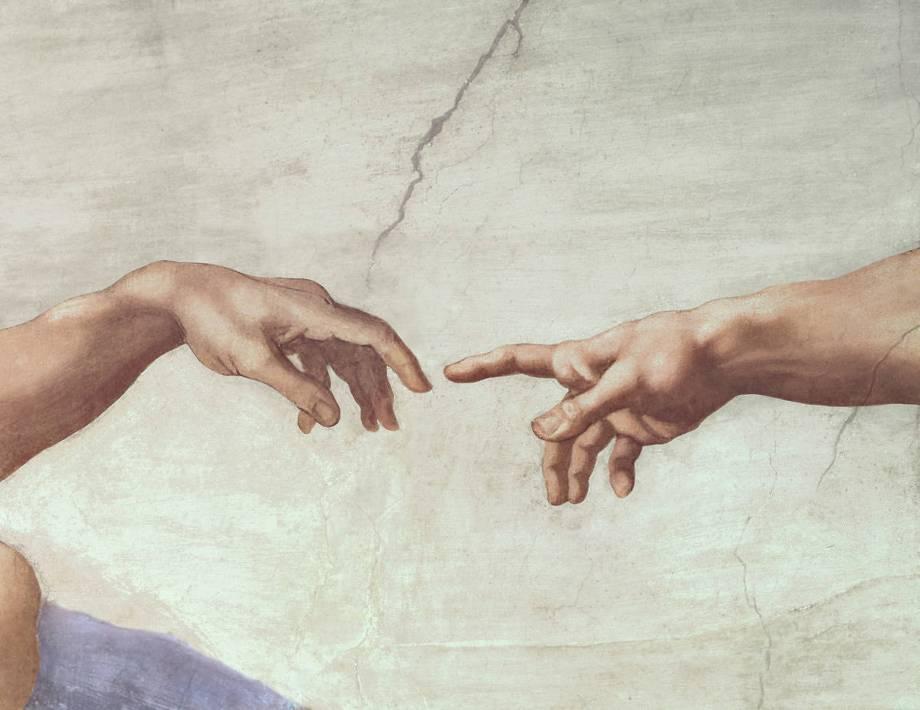 Mains de Dieu et d'Adam, détail de la Création d'Adam de la ...