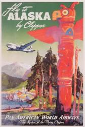 Affiche publicitaire pour des vols pour l''Alaska sur l''avion Clipper (Mark von Arenburg) - Muzeo.com