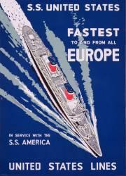 Publicité pour les bateaux S.S. United States (anonyme) - Muzeo.com