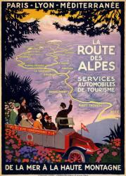 Affiche de voyage pour la route des Alpes (Roger Broders) - Muzeo.com