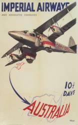 Affiche Imperial Airways, publicité pour des vols à destination de l''Australie (anonyme) - Muzeo.com