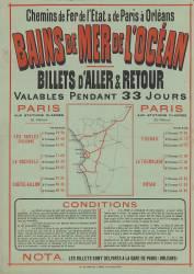 Chemins de Fer de L'Etat & de Paris à Orléans. Bains de mer de l'océan. Billets d'aller et retour ..., les billets sont délivrés à la gare de Paris (Orléans). (Anonyme) - Muzeo.com