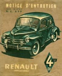 Couverture du livret d''entretien de la 4 cv (4 chevaux ou 4CV) Renault 1954. (anonyme) - Muzeo.com