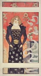 Jeune femme aux fleurs (Eugène Grasset) - Muzeo.com