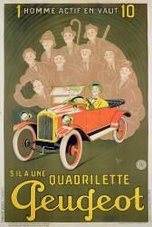 Publicité pour la Peugeot Quadrilette (Michel Liebeaux) - Muzeo.com