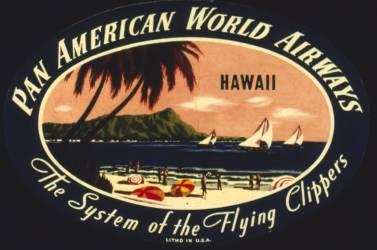 Publicité pour Pan American World Airways avec une scène de plage hawaïenne (Anonyme) - Muzeo.com