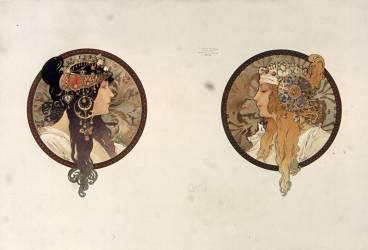 Têtes byzantines : brune, blonde (Alfons Mucha) - Muzeo.com