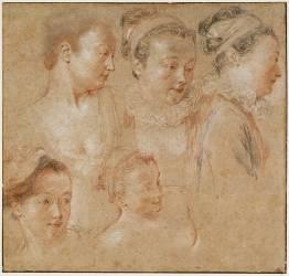 Cinq études du visage et du buste d'une femme (Antoine Watteau) - Muzeo.com