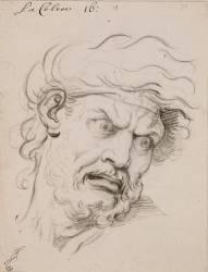 Expression des passions de l'âme : La Colère, tête de trois quarts à droite (Charles Le Brun) - Muzeo.com