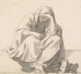 Femme affligée assise (Le Brun Charles) - Muzeo.com