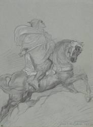 Guerrier arabe à cheval, le sabre à la main, de profil à droite (Théodore Chasseriau) - Muzeo.com