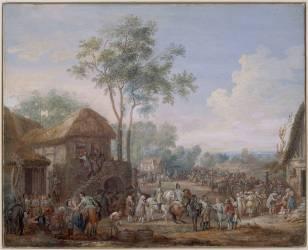 Halte de dragons (Louis Nicolas van Blarenberghe) - Muzeo.com