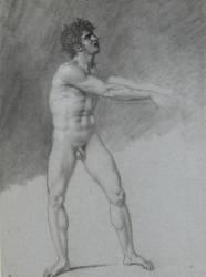 Homme nu, debout, les bras tendus en avant (Girodet Anne-Louis) - Muzeo.com