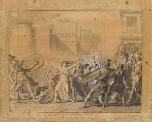 Les Sabines arrêtant le combat entre les Romains et les Sabins (Jacques Louis David) - Muzeo.com