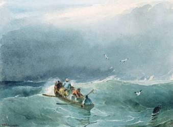 Marine, barque avec cinq marins sur une mer un peu agitée (Richard Parkes Bonington) - Muzeo.com