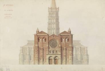 Saint-Sernin de Toulouse façade occidentale restaurée (Viollet-Le-Duc Eugène) - Muzeo.com