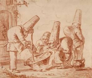 Trois polichinelles autour d'une marmite, un quatrième tournant le dos (Giambattista Tiepolo) - Muzeo.com