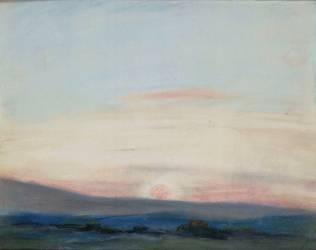 Vaste plaine sous un grand ciel, au soleil couchant (Eugène Delacroix) - Muzeo.com