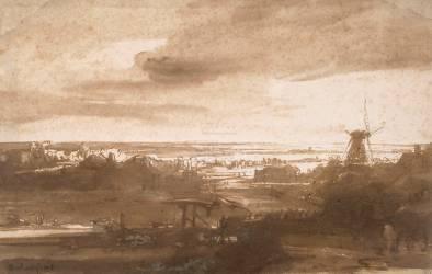 Vue panoramique d'une plaine avec un moulin à vent (Rembrandt) - Muzeo.com