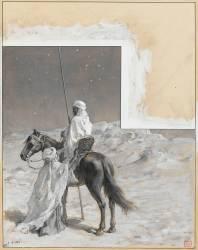 Antar à cheval part dans la nuit (Dinet Etienne) - Muzeo.com