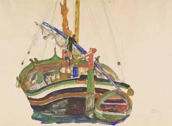 Bateau de pêche de Trieste (Schiele Egon) - Muzeo.com