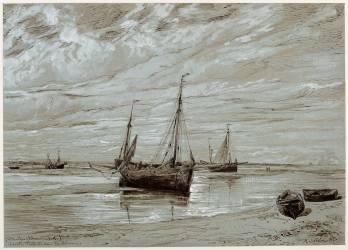 Bateaux de pêche échoués à marée basse, dans la baie de Somme (Servin Amédée Elie) - Muzeo.com