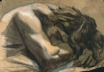 Buste d'homme nu endormi, la tête dans les bras, de trois quarts à gauche (Chasseriau Théodore) - Muzeo.com