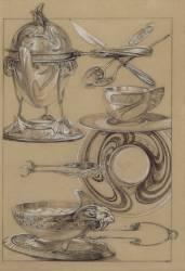 Chocolatière, tasse et soucoupe, pinces à sucre, sucrier, couverts (Mucha Alfons) - Muzeo.com